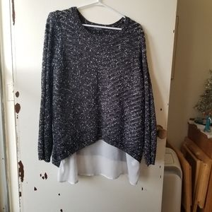 Michel Studio Black with White Faux Lining Sweater